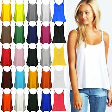 New Women Camisole Swing Stretchy Flared Ladies Thin Strap Basic Plain Vest Top