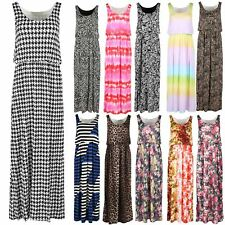 Womens Ladies Puff Ball Elasticated Waist Summer Flared Ballon Maxi Dresses 8-14