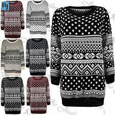 Womens Aztec Knitted Long Sleeves Ladies Baggy Oversized Sweater Jumper Dress