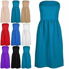 Ladies Sleeveless Franki Boobtube Bandeau Top Womens Flared Midi Dress Plus Size
