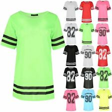 Womens Ladies Stripe Sleeve Airtex Plain Baggy Sports Short Sleeve T Shirt Top