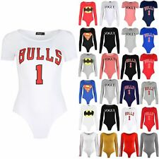 Womens Cap Sleeve Jersey Bulls 1 Printed Top Leotard Ladies Stretchy Bodysuit