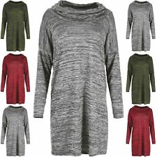 Womens Knitted Oversized Baggy Cowl Neck Space Dye Ladies Jumper Dress Sweater