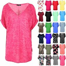 Womens Burnout V Neck Turn Up Sleeve Oversize Baggy T Shirt Ladies Lagenlook Top