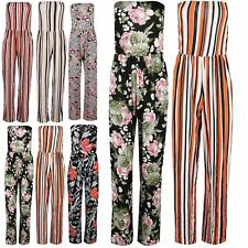 Ladies Womens Paisley Boobtube Bandeau Gathered Palazzo Jumpsuit Playsuit