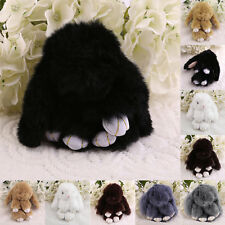 6 inch Cute Fluffy Bunny Rabbit Key Chain Ring For Phone Bag Lucky Pendant F5