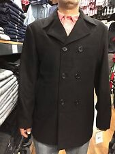New Men's Wool Blend Peacoat Double Breasted Coat/Jacket Black M-5XL