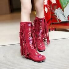 Retro Womens floral Embroidery Tassels Fringe mid calf Boots Moccasin Shoes size