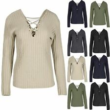 Ladies Rib Knit Front Back Eyelet Lace Up Womens Long Sleeve Pullover Jumper Top
