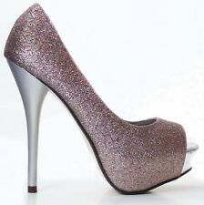 Multi-Glitter Peep Toe Heels Platform Pump Stiletto