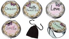 Butterfly Compact Mirror In Velvet Pouch Ladies Gift - Pocket Handbag Mirror