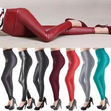 Fall Women's High Waist Faux Leather Pants Leather Leggings Warmer Shiny -UD5