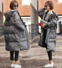 winter womens loose down cotton padded long coat parka hooded outwear puffer
