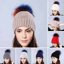 Women Bobble Woven Ski Hat Warm Woven Cap Colorful Fluffy Raccoon Fur Ball Hat