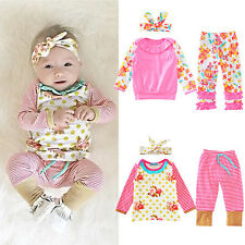 3PCS Baby Girl Outfits Floral T-Shirt Tops Stripe Pants Clothes Set Headband