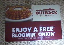 TWO (2) OUTBACK STEAKHOUSE ENJOY A FREE BLOOMIN ONION EXP 31 DECEMBER 2016