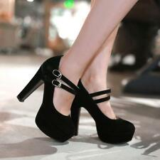 Womens platform mary jane high heel Lolita pumps buckle ankle strap formal shoes