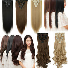Synthetic Clip in Hair Extensions 8PCS Full Head & One Piece Hair Extension