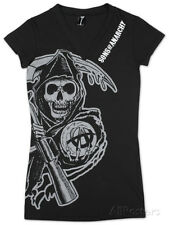 Juniors: Sons of Anarchy - V-Neck Cover Up Juniors (Slim) T-Shirt - Black