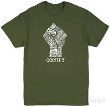 Occupy Wall Street Fight The Power Fist Apparel T-Shirt - Military Green