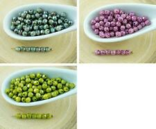 100pcs Picasso Round Czech Glass Beads Faceted Fire Polished Small Spacer 3mm