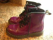 DR. DOC MARTENS AirWair Delaney Girls Kids Purple Glossy Lace/Zip Boots Size 1