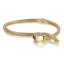 925 Silver Charm Bracelet Plated Gold Snake Chain Jewelry Gift Fit European Bead