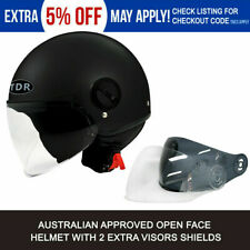 OPEN FACE HELMET MATT BLACK LOW RIDER AUSTRALIAN APPROVED HARLEY BIKER BOBBER