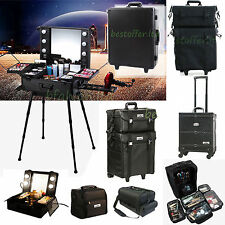 Pro UNHO Aluminum/Nylon Rolling Makeup Train Case Studio Cosmetic Trolley Box US