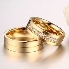 Women Men Wedding Couples Love Rings 18K Gold Plated CZ Stainless Steel Ring Hot