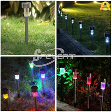 Outdoor Stainless Steel Solar Power LED Lamp Garden Lawn Path Landscape Lights