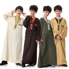 Boys Kids Dishdasha Jubbah Jubba Arab Dress Kaftan Thobe Islamic Cloth