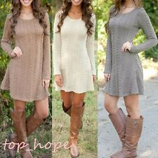 Sexy Womens Jumper Knitted Crew Neck Long Sleeve Top Sweater Tunic Mini Dress