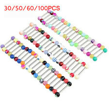 Mixed 30/50/60/100Pcs Ball Nipple Tongue Bar Barbell Ring Body Piercing Jewelry