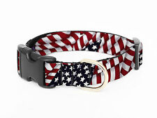 Cute Dog Collars, Adjustable Pet Collar, Various Sizes - red blue American flag
