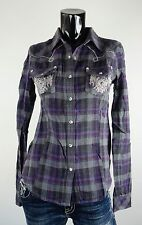 NEW MISS ME SHIRT S-M-L JMT768 PURPLE EMBROIDERED FLANNEL LONG SLEEVE TOP **