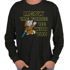 Meow The Force Star Wars Movie Rogue One Funny Jedi CatLong Sleeve T-Shirt