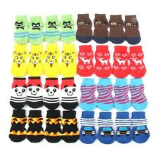 New 4PCS Pet Dog Puppy Indoor Cotton Anti-slip Knit Weave Warm Socks Skid Bottom