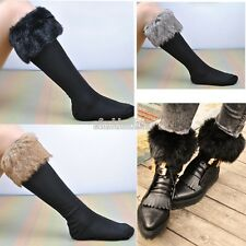 Winter Women Boot Faux Fur Socks Stocking Fluffy Furry Soft Leg Warmers EFFU