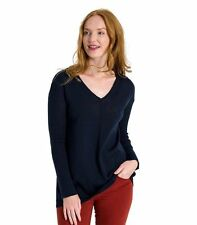 WoolOvers Womens 100% Merino V Neck A Line Casual Jumper Sweater Knitwear
