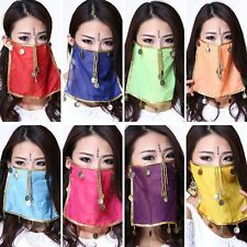 Belly Dance Face Veil Indian Dance Costume Dancing Accessory Chiffon Coins Beads