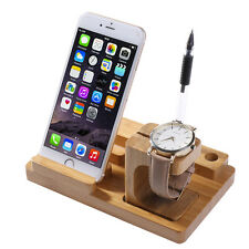 Charging Docking Station Bamboo Stand Holder for Apple Watch iWatch iPhone 7