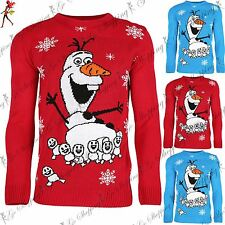 Kids Children Christmas Unisex Jumper Boys Olaf Snowflake Xmas Knitted Sweater