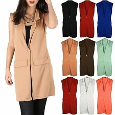 Womens Ladies One Gold Button Long Line Crepe Sleeveless Jacket Waistcoat Blazer