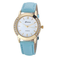 Geneva Fashion Women Diamond Jewelry Analog Leather Quartz Wrist Watch Watches