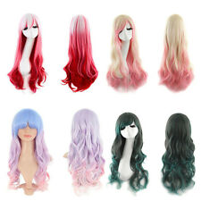 70CM Wig Cosplay Heat Resistant Long Curly Cos Harajuku Gradient Mix Wig