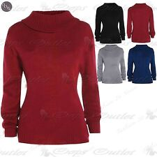 Womens Ladies Plain Polo Strechy Knittted Roll Turtle Neck Jumper Sweater Top