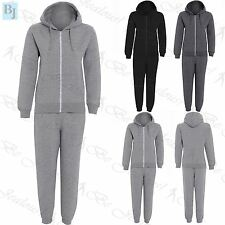 Boys Girls Unisex Plain Fleece Hooded Hoodie Top Jogsuit Bottom Jogger Tracksuit