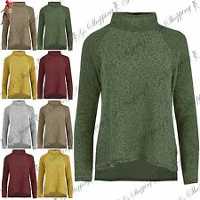 Ladies Womens Knitted Tunic Full Sleeve Roll Cowl Neck HiLo Jumper Sweater Top