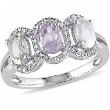 Tangelo 1-2/5 Carat T.G.W. Rose Quartz, Green Amethyst and Rose de France with 1